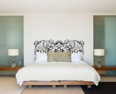 Ornate Swirl Headboard Royal Bed Frame Bedpost Wall by danadecals Interior Design Plants, Interior Design Living Room, Middle Eastern Decor, Royal Bed, Art Above Bed, Bed Shelves, Custom Vinyl, Headboards For Beds, Bedroom Wall