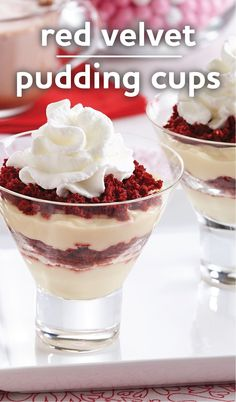 Red Velvet Pudding Cups: A quick and easy Valentine's Day dessert recipe for your sweetheart. Creamy vanilla pudding layered with mug cake red velvet cake crumbles and topped with Reddi-wip makes a great treat idea.