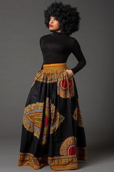 Black Dashiki African maxi skirt African print skirt for women Ankara maxi skirt African skirt long skirt African print skirt MARCIA African Print Skirt, African Print Dresses, African Fashion Dresses, African Attire, African Wear, African Fabric, African Prints, Long African Skirt, African Style