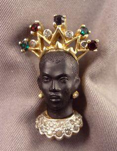 Jomaz Jeweled Nubian Blackamoor wearing Crown Brooch