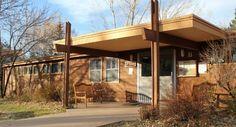 portico addition transforms boring building Shining Mountain Waldorf School, Boulder