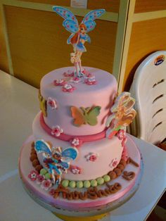 Children's Birthday Cakes - birthday cakes showing edible pictures of winx club characters