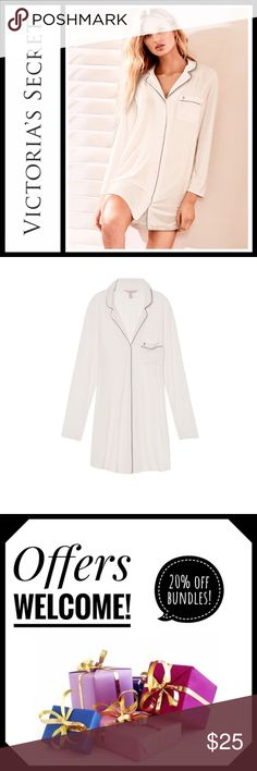 Victoria's Secret Coconut Super soft sleep shirt Perfect used condition, soooo soft - size small. This soft modal sleepshirt borrows from the boys with a menswear-inspired button-front, a notch collar and a front pocket. Color is coconut white Victoria's Secret Intimates & Sleepwear Pajamas
