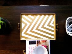 Gold Chevron tray -DIY