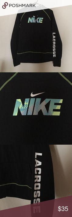 NWOT Nike Lacrosse Hoodie Brand new nike hoodie! Extremely comfortable, in perfect condition. Has holes for your thumbs on the sleeves which is awesome. Love this jacket but i don't play lacrosse haha. Nike Jackets & Coats