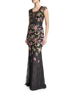 Cap-Sleeve Floral-Embroidered Gown, Black/Multi by Badgley Mischka at Neiman Marcus.