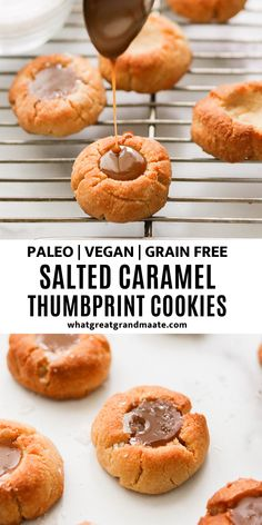 A fun take on a traditional dessert, these paleo and vegan salted caramel thumbprint cookies are a delicious holiday treat made with clean ingredients! Easy Healthy Recipes, Paleo Recipes, Great Recipes, Healthy Desserts, Holiday Recipes, Paleo Ideas, Paleo Sweets, Healthy Treats, Eating Healthy