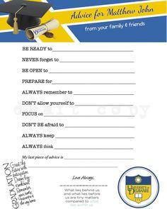 College Graduate Advice Game/activity! College Graduation Party Idea