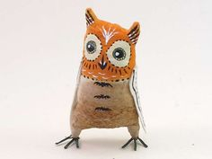 Surprised Stanley Vintage Inspired Spun Cotton Owl Figure OOAK (READY To SHIP!) by VintagebyCrystal on Etsy