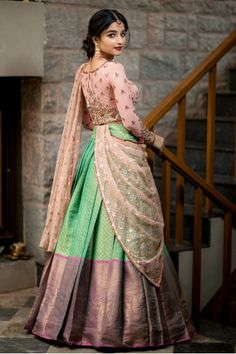Indian Fashion Dresses, Indian Gowns Dresses, Dress Indian Style, Indian Designer Outfits, Designer Dresses, Indian Wear, Lehenga Saree Design, Half Saree Lehenga, Lehnga Dress