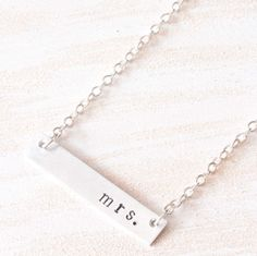 Personalized Bar Necklace Minimal Hand Stamped