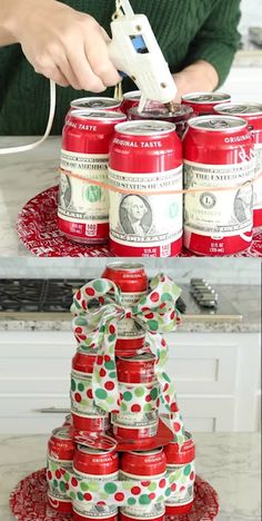 The perfect Gift Idea for giving Cash for Christmas! If you have someone on your list who is hard to buy for, this Coke Cash Tree is SO CUTE! You can use small bills # Cash Christmas Gift Baskets, Homemade Christmas Gifts, Homemade Gifts, Christmas Crafts, Christmas Christmas, Christmas Presents, Co Worker Gifts Christmas, Brother Christmas Gifts, Homemade Cards
