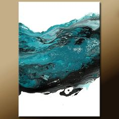 Turquoise & Black Abstract Canvas Art Painting 18x24 Contemporary Modern Fine Art Painting by Destiny Womack - dWo -  The Wave