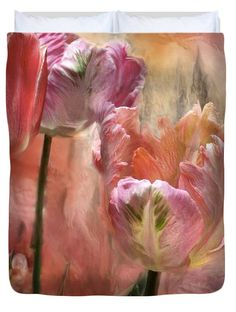 Tulips - Colors Of Love decorator Duvet Cover featuring the art of Carol Cavalaris. Design also available on matching pillow, as well as fine art print.