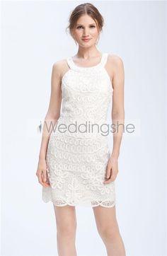 Fantastic Sheath/Column Scoop Mini-Length Embroidery Wedding Dresses(Free Shipping)