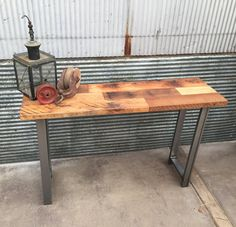 """Reclaimed Wood Patchwork Timber Console Table / Hall by  wwmake Height: 30"""" Width: 12"""" Length: 48"""""""