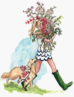puppies and scallops and flowers illustration by Inslee Haynes