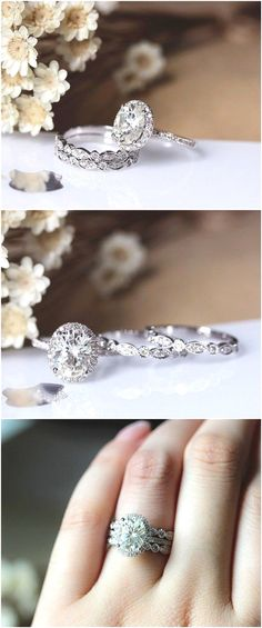 2.1ct Charles & Colvard 7x9mm Oval Brilliant Moissanite Ring Set Wedding Ring Set Solid 14K White Gold Ring Set / http://www.deerpearlflowers.com/engagement-rings-from-etsy/2/