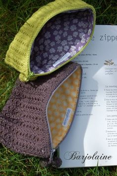 Crochet make up bags with zipper and lining