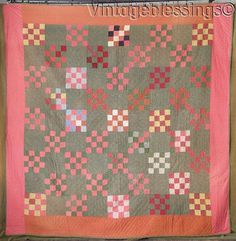 Never Used! This quilt has a calico green background with wide borders of rust and double pink. So large, great to decorate with. Good condition with minor wear, age tanning/spotting. One tiny surface tear.   eBay!