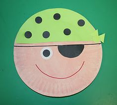 P is for pirate paper plate art & Pirate Crafts For Kids. Nice pirate mask. | E-H Pirates | Pinterest ...