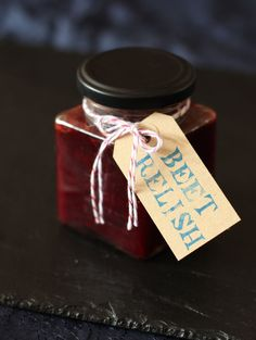 Roast beetroot, chilli & balsamic relish - perfect for a homemade Christmas gift! Chutney Recipes, Jam Recipes, Cooking Recipes, Homemade Christmas Gifts, Homemade Gifts, Homemade Spices, Homemade Seasonings, Xmas Gifts, Handmade Christmas