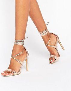 True Decadence Rose Gold Metallic Ankle Tie Heeled Sandals - $45.00