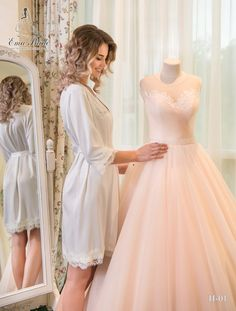 Buy Bridal Nightgown Ema Bride with delivery . Bridal Nightgown, Bridal Robes, Gold Bridesmaid Dresses, Wedding Dresses, Chapel Length Veil, Tulle Dress, Beautiful Bride, Night Gown, White Lace
