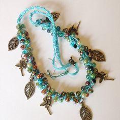 Fairy charm necklace fairy jewellery leaf by DollyDaydreamCrochet