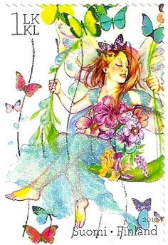 Fairy and Butterflies Swinging - Stamp with Glitter from Finland