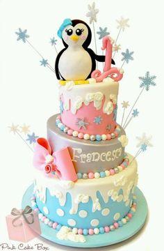 Francesca's Winter Wonderland Birthday Cake by Pink Cake Box in Denville, NJ. Winter Wonderland Birthday, Winter Birthday, Girl First Birthday Party Ideas Winter, First Birthday Decorations, First Birthday Cakes, Birthday Ideas, Birthday Supplies, 2nd Birthday, Cupcakes