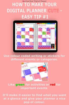 Make your digital planner look cute with 5 quick and easy tips - to help you get your stuff sorted. Digital Journal, Planning And Organizing, Bullet Journal Layout, Important Dates, Planner Ideas, Android Apps, How To Plan, How To Make, Journaling