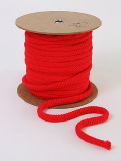 Chunky Red Rope Cord: Vintage chunky cherry red rope cord for craft projects. 50p a metre.