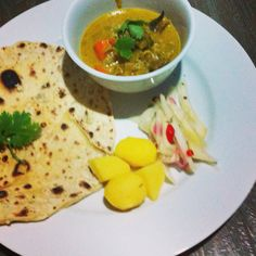 Chapati, beef curry and mango cilantro salad