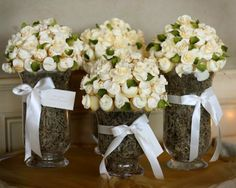 mini cupcake bouquets  fill glass container with moss or similar color paper shred