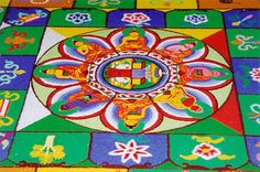 I saw some Tibetan monks make a sand painting similar to this it took many days and then poof!,  in seconds they swept it away. Nothing in life is forever. So beautiful!
