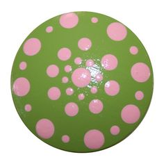Green with Pink Polka Dot Knobs by HobKnobin on Etsy, $5.00