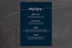 """Someone Like You"" - Elegant, Classical Menu Cards in Tuxedo by Design Lotus."