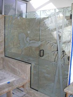 Bamboo With Egret Alighting - Etched carved glass shower enclosure by Sans Soucie Art Glass.