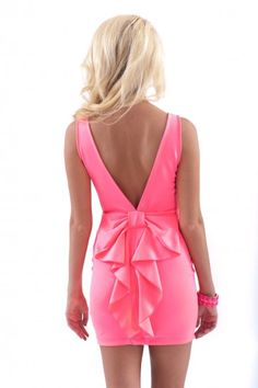 Hide and Bow Chic Dress-Neon Pink