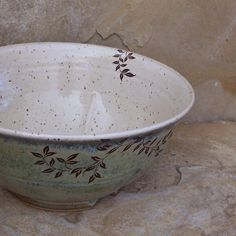 Desert Moss Green Handmade Stoneware Ceramic Pottery Serving Bowl - Vines. $42.00, via Etsy.