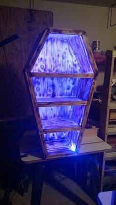 Coffin shaped shelf with led lights