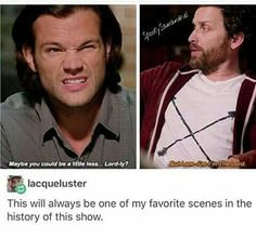 "I told a friend about this scene once. She said, ""but I though Supernatural was supposed to be a dark show? Supernatural Fandom, Quotes Supernatural, Supernatural The Darkness, Supernatural Cartoon, Misha Collins, Destiel, Wallpapers Supernatural, Sherlock, Winchester Boys"