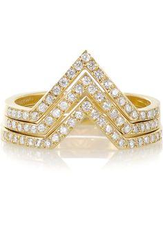 Ileana Makri - Triple V set of three 18-karat gold diamond rings