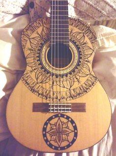 HALF MOON MANDALAS Ukulele Art, Guitar Art, Guitar Chords, Acoustic Guitar, Cello, Violin, Guitar Drawing, Guitar Painting, Guitar Deco