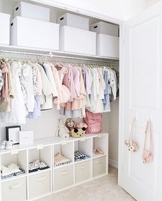 Sweet baby girls nursery closet design with Ikea curtains weet baby girls nursery closet design with Ikea curtains replacing closet doors - Sweet baby girls nursery closet design with Ikea curtains - Kids Room Ideas Baby Room Boy, Baby Nursery Closet, Baby Bedroom, Girl Room, Baby Girls, Baby Girl Closet, Ikea Nursery, Kid Closet, Nursery Room