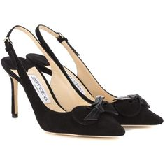 Jimmy Choo Blare 85 Sling-Back Pumps (29,790 THB) ❤ liked on Polyvore featuring shoes, pumps, heels, black, sling back pumps, jimmy choo slingback, black pumps, black sling back pumps and black slingback shoes