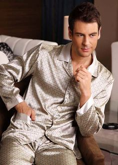 Fashion mens silk pajamas s839 gray green