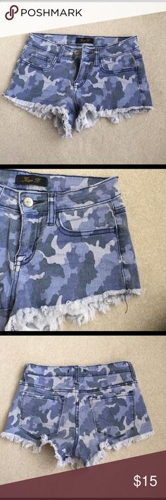 Blue Camouflage Denim Shorts These Klique B Blue Denim Camo Shorts are unique and stylish! Bought from a boutique and only worn a handful of times. Klique B Shorts Jean Shorts
