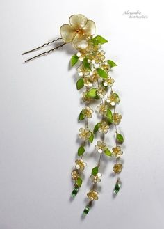 Japanese Flower Resin Kanzashi HairPin Hair Stick by BestPeopleCa Head Accessories, Fashion Accessories, Asian Hair Pin, Japanese Hairstyle, Japanese Flowers, Cream Flowers, Resin Flowers, Hair Sticks, Hair Ornaments